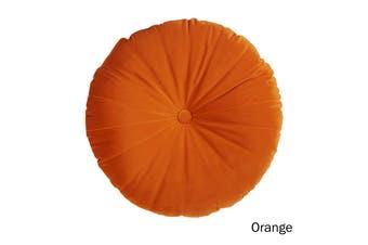 Mandarin Round Velvet Cushion Orange