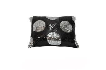 Sequined Black Silver Breakfast Filled Cushion