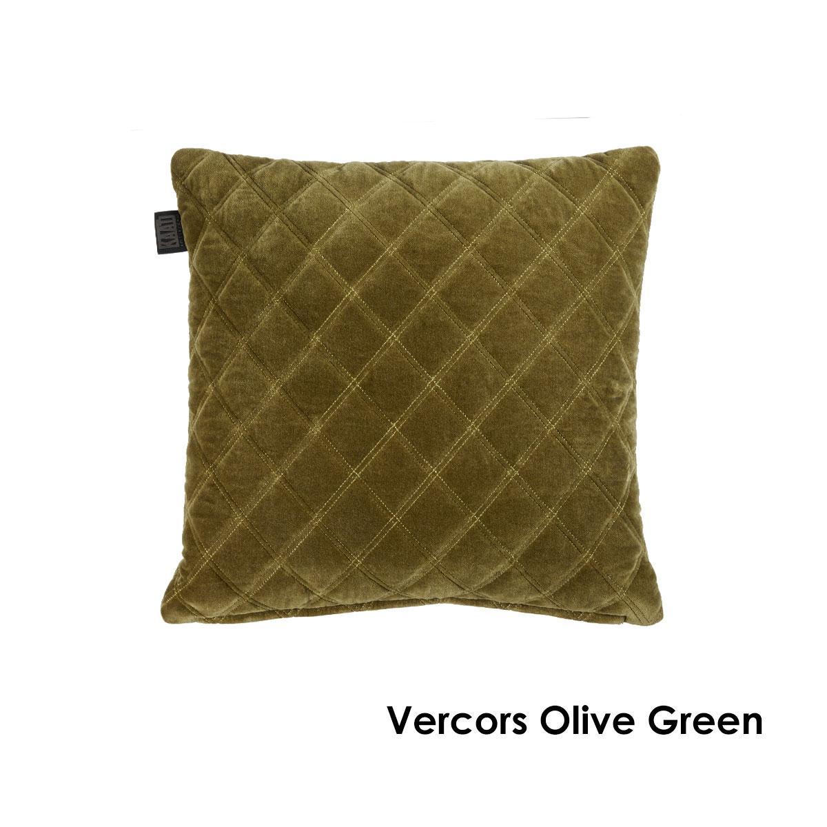 Vercors Luxury Cotton Velvet Filled Square Cushion Olive Green Matt Blatt