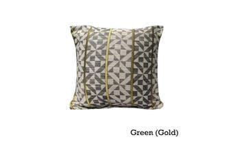 Checks Cushion Cover Green (Gold) by Home Innovations