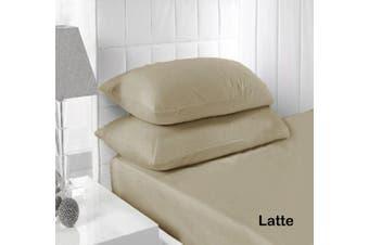 250TC Fitted Sheet Set Latte - Single