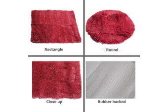 LONG HAIR Floor Rug Burgundy Rectangle