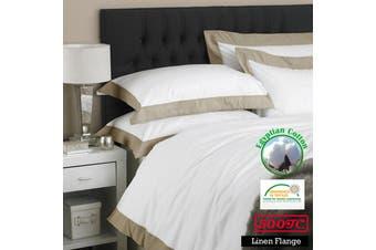 500TC Egyptian Cotton Linen Flange Quilt Cover Set Queen
