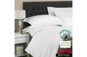 500TC Egyptian Cotton White Flange Quilt Cover Set Queen
