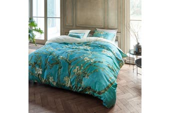 Almond Blossom Blue Quilt Cover Set King