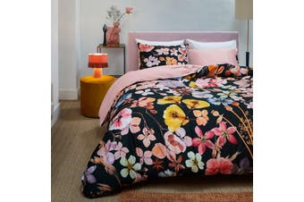 Dried Flowers Black Quilt Cover Set King