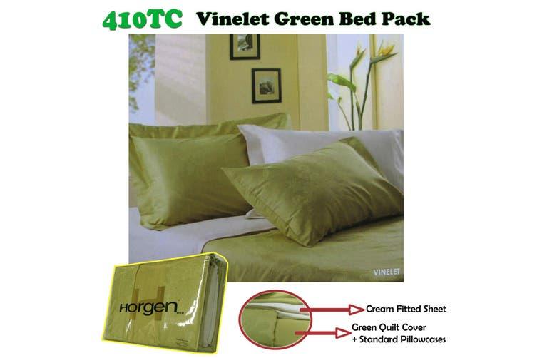 410TC Horgen Vinelet Green Bed Pack QUEEN