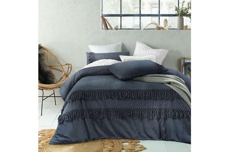 Denim Boho Tassel Linen Cotton Quilt Cover Set King