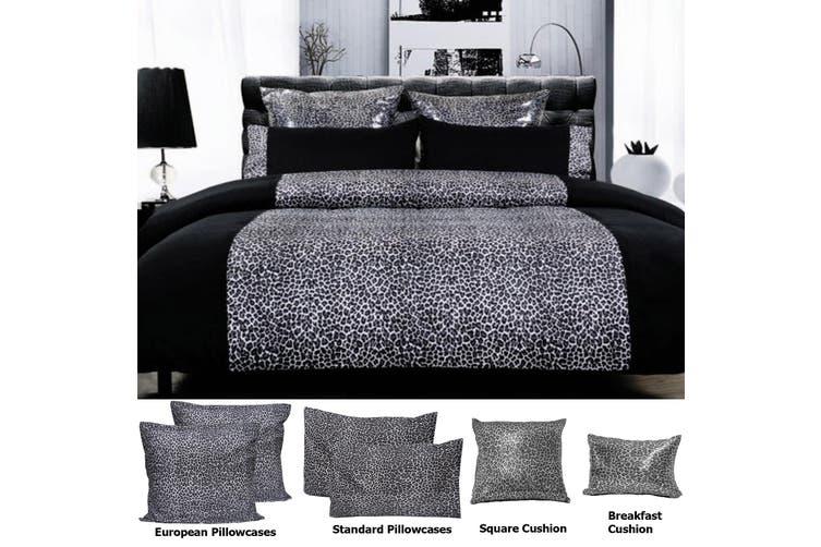 LEOPARD Quilt Cover Set Black Double