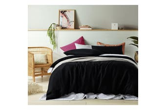 100% Linen Black Quilt Cover Set King