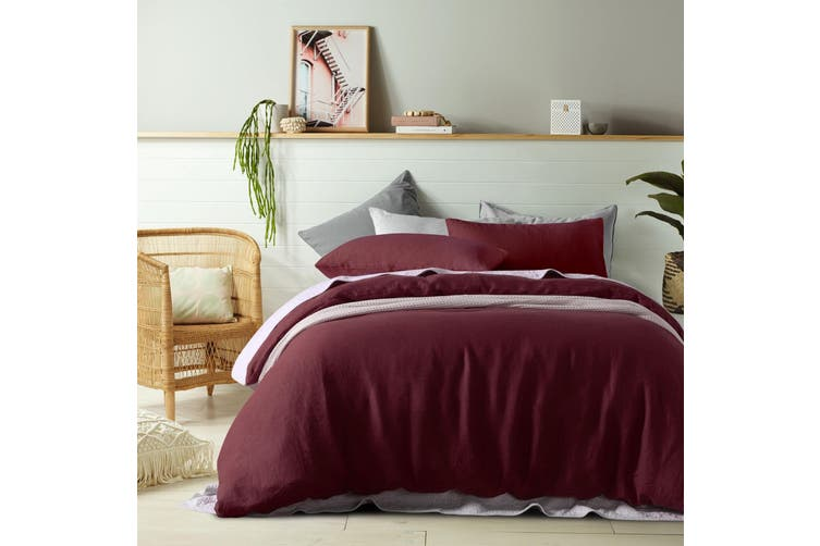100% Linen Merlot Quilt Cover Set Double