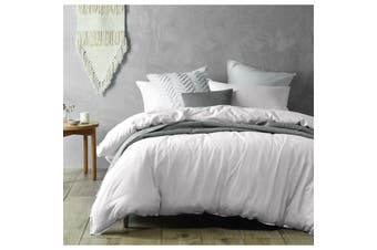 Monique White Linen Cotton Quilt Cover Set Queen