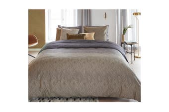 Points and Lines Natural Quilt Cover Set Queen