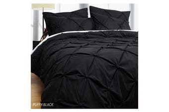 Puffy Quilt Cover Set Black QUEEN
