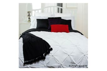 Puffy Quilt Cover Set White SINGLE