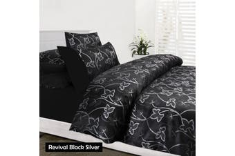 Revival Black Quilt Cover Set - KING