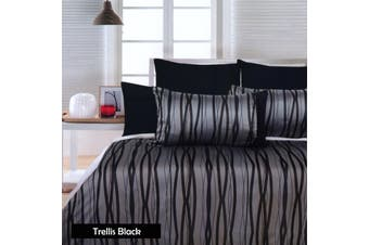 Trellis Black Quilt Cover Set - SINGLE