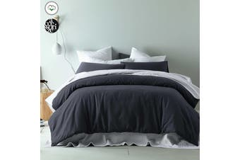 Waffle Slate Cotton Quilt Cover Set Queen