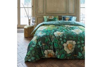 Wild Roses Green Quilt Cover Set King