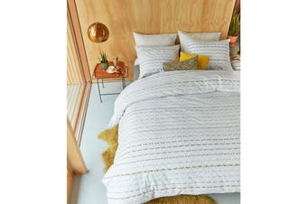 Woven Lines Yellow Quilt Cover Set Queen