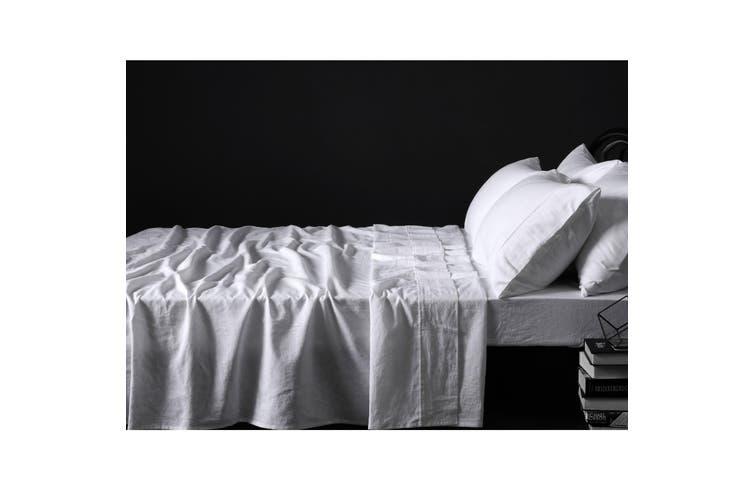 100% Linen White Sheet Set KING
