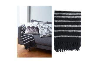 Cotton Fringe Throw Rug Honshu Black by Bedding House