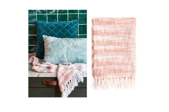 Cotton Fringe Throw Rug Nippon Coral by Bedding House