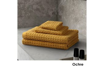 4 Pce Waffle Cotton Bath Towel Set Ochre