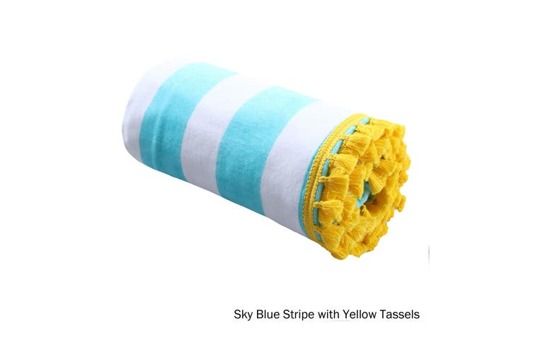 Stripe Summer Towel Sky Blue with Yellow Tassels by Home Innovations