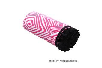 Tribal Summer Towel Pink with Black Tassels by Home Innovations