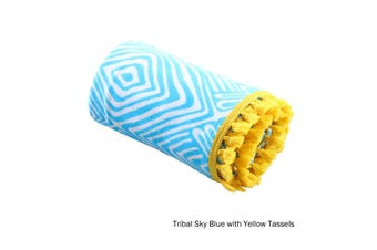 Tribal Summer Towel Sky Blue with Yellow Tassels by Home Innovations