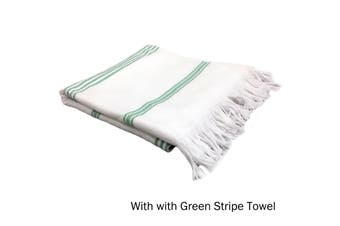 Cotton Terry Turkish Towel White with Green Stripe by Home Innovations