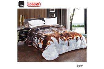 Photo Print Mink Blanket 220 x 240 cm Deer by IDC Homewares