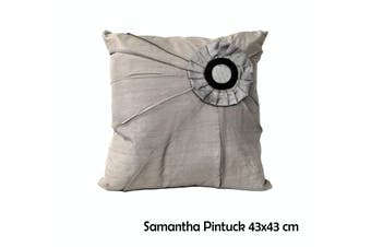 Samantha Pintuck Grey 43x43 cm Square Cushion by IDC Homewares