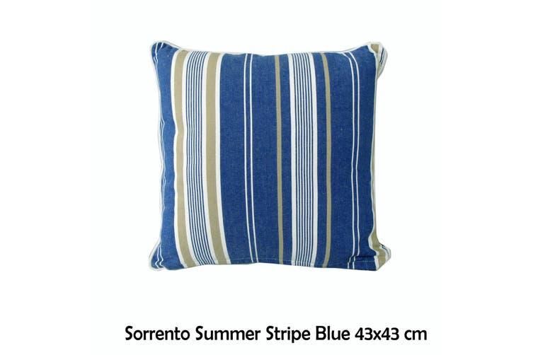 Sorrento Summer Stripe Blue 43x43 cm Square Cushion by IDC Homewares