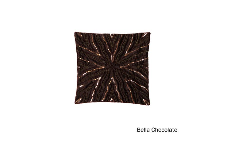 Sequin Cushion Cover Bella Chocolate by IDC Homewares