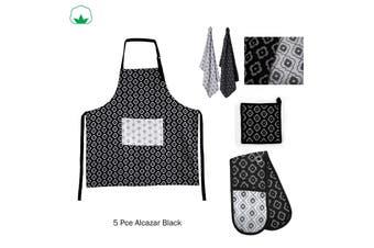 5 Pce Cotton Kitchen Set Alcazar Black by IDC Homewares