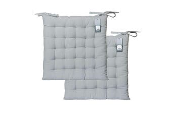 Pack of 2 Basic Chair Pads Grey by IDC Homewares