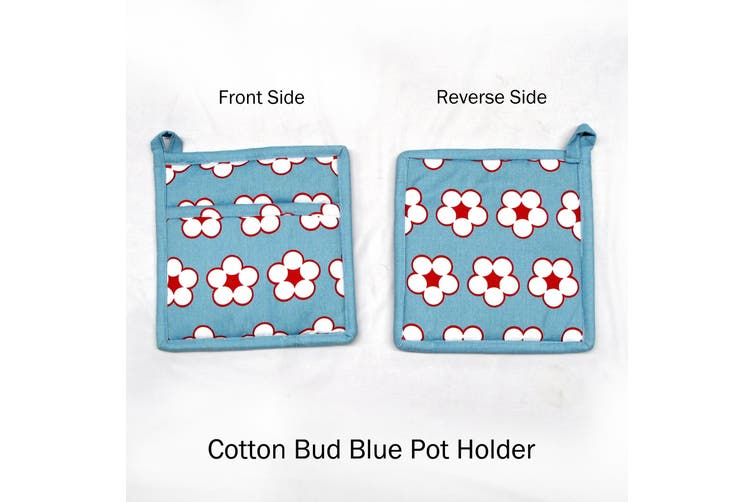 Set of 2 Cotton Bud Blue Pot Holders by IDC Homewares