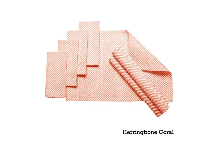 Set of 8 Cotton Napery Set Herringbone Coral by J Elliot Home