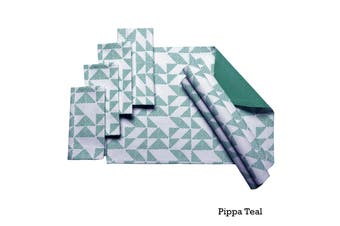 Set of 8 Cotton Napery Set Pippa Teal by J Elliot Home