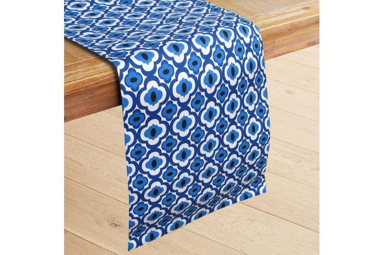 100% Cotton Printed Table Runner Azure Blue by IDC Homewares