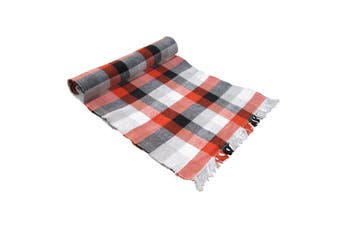 Ribbed Pattern Table Runner Checkered Red by IDC Homewares