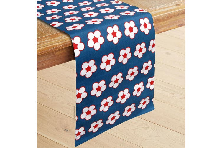 100% Cotton Printed Table Runner Cotton Bud Navy by IDC Homewares