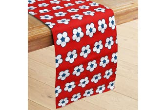 100% Cotton Printed Table Runner Cotton Bud Red by IDC Homewares