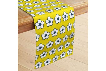 100% Cotton Printed Table Runner Cotton Bud Yellow by IDC Homewares