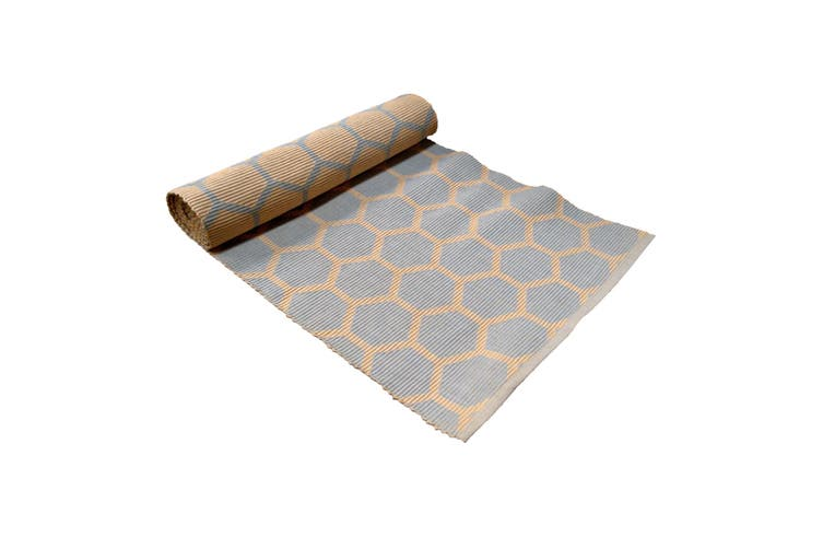 Ribbed Pattern Table Runner Honeycomb Grey/ Peach by IDC Homewares