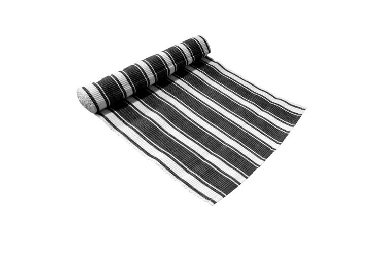 Ribbed Pattern Table Runner Panama Narrow Black by IDC Homewares
