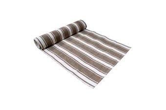Ribbed Pattern Table Runner Panama Narrow Brown by IDC Homewares