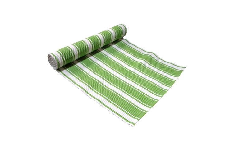 Ribbed Pattern Table Runner Panama Narrow Green by IDC Homewares